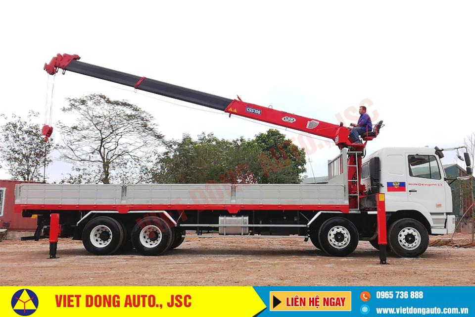 Xe tải thùng CAMC 8×4 động cơ HINO công suất 325 gắn cẩu CSS 7 tấn
